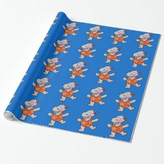 Papel De Presente hippopotamus bonito no roupa de banho