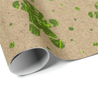 Papel De Presente Homem de pão-de-espécie Kraft das ervilhas verdes