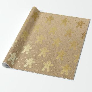 Papel De Presente Homem de pão-de-espécie Kraft do ouro do ano novo