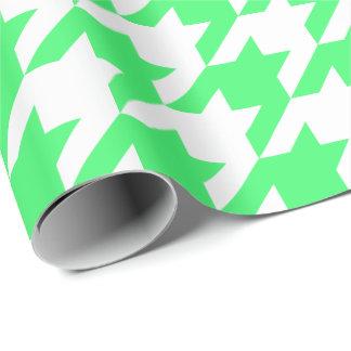 Papel De Presente Houndstooth verde e branco da grande luz -