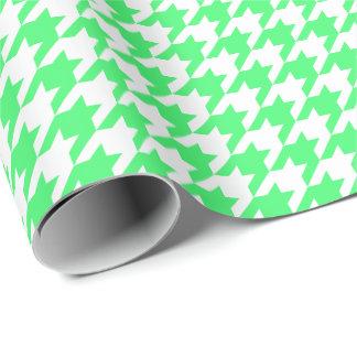 Papel De Presente Houndstooth verde e branco da luz média -