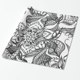 Papel De Presente Ilustração floral preto e branco moderna da