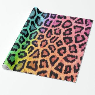 Papel De Presente Impressão colorido do leopardo do divertimento