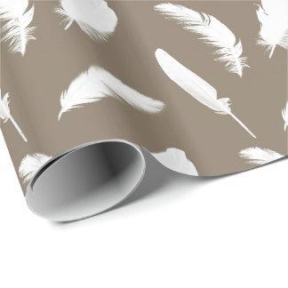 Papel De Presente Impressão da pena branca no taupe