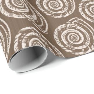 Papel De Presente Impressão de bloco do Seashell, Taupe Tan e creme