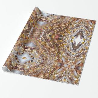 Papel De Presente Impressão lustroso da miçanga de Earthtones do