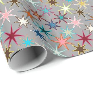 Papel De Presente Impressão moderno de Starburst, cores da jóia em