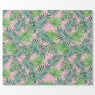 Papel De Presente Impressão tropical - rosa das palmeiras