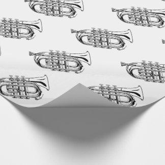 Papel De Presente Instrumento musical do esboço preto e branco da