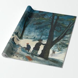 Papel De Presente Inverno do Central Park de William James Glackens