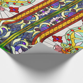Papel De Presente Janela de vitral colorida de Nouveau Tiffany da