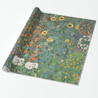 Papel De Presente Jardim da fazenda de Gustavo Klimt com girassóis