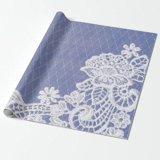 Papel De Presente Laço branco azul cinzento floral clássico