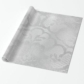 Papel De Presente Laço floral nupcial monocromático de prata