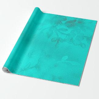 Papel De Presente Laço floral Tiffany do oceano do azul de turquesa