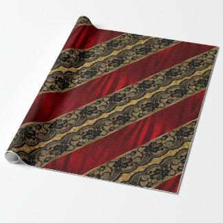 Papel De Presente Laço preto brilhante vermelho Vip do brilho