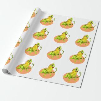 Papel De Presente Lagarto feliz verde adorável da iguana da natureza