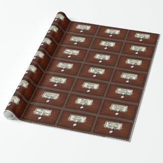 Papel De Presente Leitores de madeira das gavetas de catálogo do