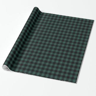Papel De Presente Lenhador rústico do preto   do verde da xadrez do