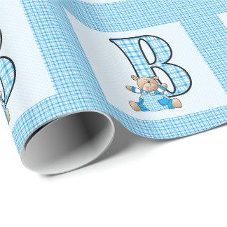 """Papel De Presente Letra """"B"""" dos meninos com urso de ursinho e"""