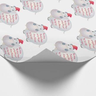 Papel De Presente Letra do Hippopotamus do hipopótamo do Natal do