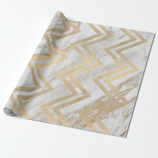 Papel De Presente Linha branca de Chevron do ziguezague do mármore
