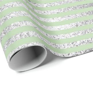 Papel De Presente Linhas prata Pastel Vip das listras do verde do