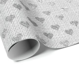 Papel De Presente Linho monocromático das cinzas de prata dos