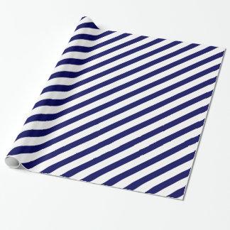 Papel De Presente Listra da diagonal do marinho