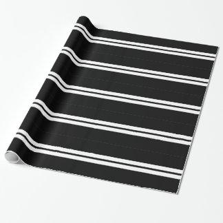 Papel De Presente Listra preto e branco