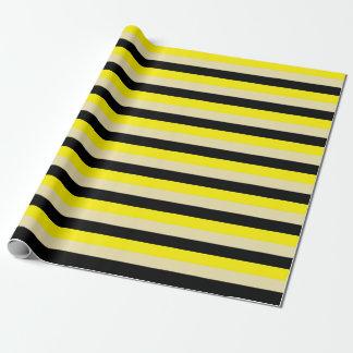 Papel De Presente Listras amarelas, bege e pretas