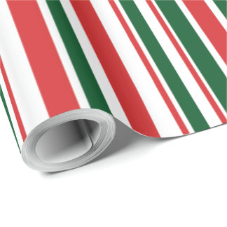Papel De Presente Listras brancas verdes vermelhas