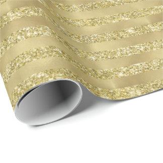 Papel De Presente Listras chiques Glittery do ouro