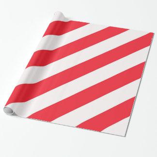 Papel De Presente Listras diagonais vermelhas e brancas do bastão de