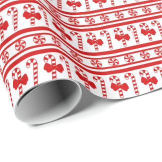 Papel De Presente Listras do bastão de doces do Natal