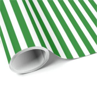 Papel De Presente Listras do bastão de doces no verde do Natal & no