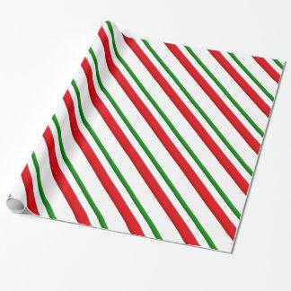 Papel De Presente Listras do bastão de doces - vermelho e verde