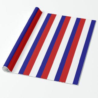 Papel De Presente Listras patrióticas brancas e azuis vermelhas