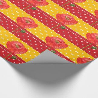 Papel De Presente Listras vermelhas e amarelas das bolinhas com