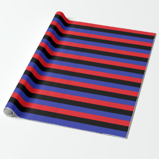 Papel De Presente Listras vermelhas, pretas e azuis
