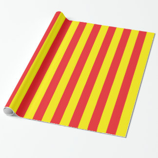 Papel De Presente Listras verticais amarelas e vermelhas