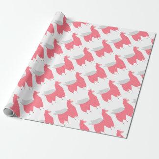 Papel De Presente Llamacorn de voo cor-de-rosa
