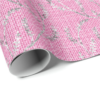 Papel De Presente Louro Sparkly de prata de linho do rosa do rosa