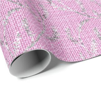 Papel De Presente Louro Sparkly de prata de linho do rosa Pastel do