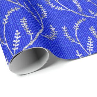 Papel De Presente Louro Sparkly de prata de linho dos azuis cobaltos