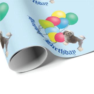 Papel De Presente Lowchen em balões azuis do feliz aniversario
