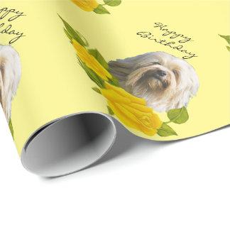 Papel De Presente Lowchen em rosas amarelos