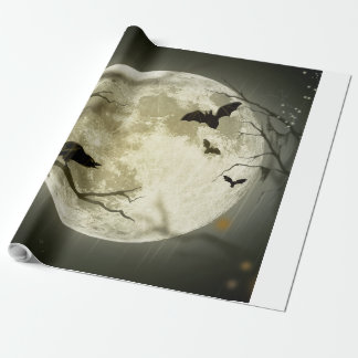 Papel De Presente Lua do Dia das Bruxas - ilustração da Lua cheia