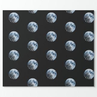 Papel De Presente Lua e árvores lunares da noite da Lua cheia