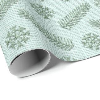 Papel De Presente Lux branco de linho da casa de campo do verde da